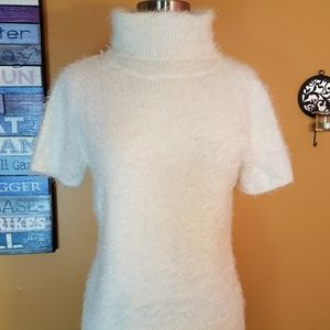 Ny&Co eyelash fluffy white turtleneck short sleeve